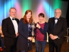 """Joan Giller accepting the Ray Leonard Cup Blue Riband award for overall Winner of the 48th Claremorris Drama and Fringe festival on behalf of the Schull Drama Group for their Production of """"No Mans Land"""" by Harold PinterL to R Ciarán McCauley (Adjudicator) Linda Beirne (Festival Treasurer) Joan Giller and Peter McCallig (Festival Chairman). Photo © Michael Donnelly"""
